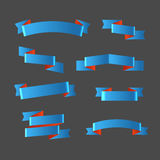 Different retro style blue ribbons set Stock Photography