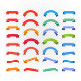 Different retro style color ribbons set  on transparent. Ready for a text Royalty Free Stock Photo