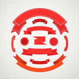 Different retro style composition of red ribbons. Ready for a text Royalty Free Stock Photo