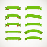 Different retro style green ribbons. Ready for a text Royalty Free Stock Photos