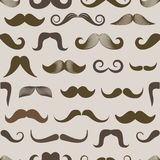 Different retro style moustache seamless pattern Stock Photos