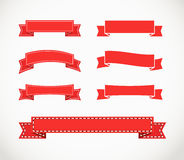 Different retro style red ribbons. Ready for a text Royalty Free Stock Photography