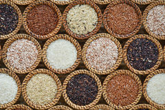Different rice collection on wicker Royalty Free Stock Image