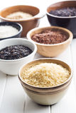 Different rice varieties. Different rice varieties in bowl Stock Image