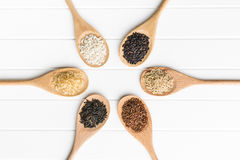 Different rice varieties. Different rice varieties on kitchen table. Top view Stock Photography