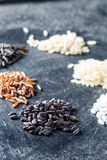 Different rice varieties. Different rice varieties on old table Stock Image