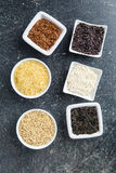Different rice varieties. Top view Royalty Free Stock Photos
