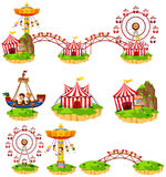 Different rides at amusement park. Illustration Stock Photos
