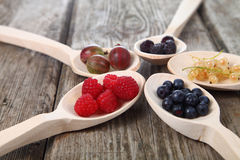 Different ripe berries in a spoons Royalty Free Stock Photo