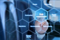 Different risk types in a hexagon grid. Touched by a business analyst in a blue suit royalty free stock image