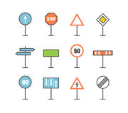 Different road sign icons collection Stock Photo