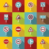 Different road signs icons set, flat style Stock Photography