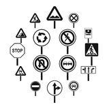 Different road signs icons set, simple style. Different road signs icons set. Simple illustration of 16 different road signs vector icons for web vector illustration