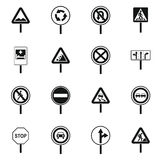 Different road signs icons set, simple style Stock Image