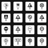 Different road signs icons set squares vector Royalty Free Stock Images