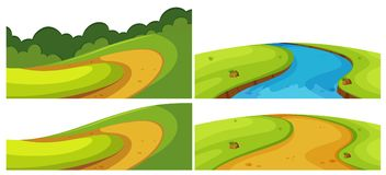 Different roads and river in the field. Illustration Royalty Free Stock Photos