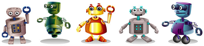 Different robot designs. Illustration of the different robot designs on a white background Royalty Free Stock Photo