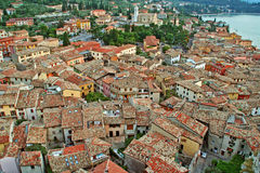 Different roofs of Malcesine. On Garda lake Royalty Free Stock Images