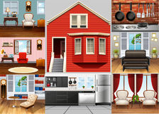 Different rooms in the house. Illustration Stock Photo