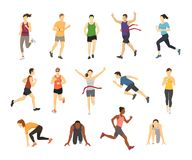 Free Different Running Athlets Sport People Runner Group With Kit Elements Silhouette Character Design Let`s Run Concept Stock Image - 100785891