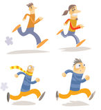 Different running characters. Stock Photos