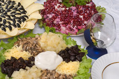 Different Salads And Wine Glass. Stock Photo