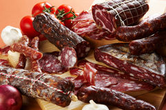 Different salami and meat product Royalty Free Stock Photography