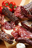 Different salami and meat product Royalty Free Stock Photo