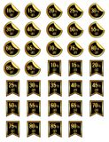 Different sale discount golden stickers stock illustration