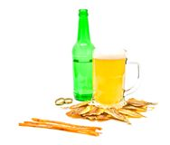 Different salty fishes and mug of beer Stock Images