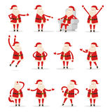 Different Santa s Movements on White Background Stock Image