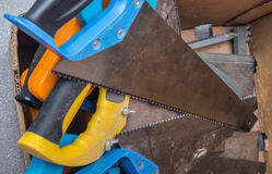Different saws in the box Royalty Free Stock Image