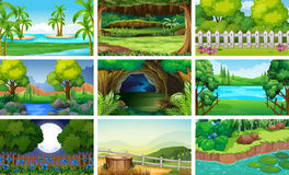Different scenes of forest and river. Illustration Royalty Free Stock Photos