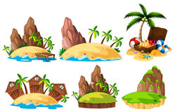 Different scenes of islands. Illustration Stock Photos