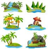 Different scenes of islands. Illustration stock illustration