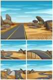 Different scenes with road in desert land. Illustration Royalty Free Stock Photo