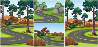 Different scenes with roads in the park. Illustration Royalty Free Stock Photo