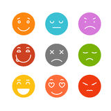 Different schematic face emotions on white Stock Photography