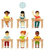Different school children class set in flat style Royalty Free Stock Images
