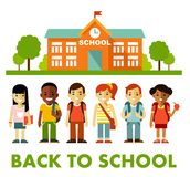 Different school children stand set in flat style Stock Images
