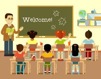 Different school children and teacher at class lesson in flat style Stock Photography