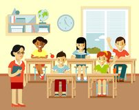 Different school children and teacher at class lesson in flat style Stock Photo