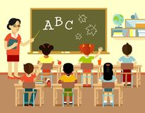 Different school children and teacher at class lesson in flat style Royalty Free Stock Image