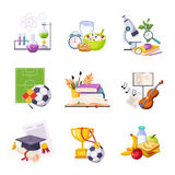 Different School Classes And Activities Related Sets Of Objects Royalty Free Stock Images