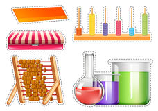 Different school equipments sticker set. Illustration Stock Photography