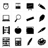 Different school icon silhouettes vector Stock Image