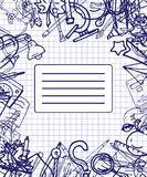 Vector pattern retro drawing of different school objects. Theme back to school. Can be used for the background of. Different school objects. Bright pattern. Eps vector illustration