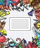 Vector pattern retro drawing of different school objects. Theme back to school. Can be used for the background of. Different school objects. Bright pattern. Eps stock illustration