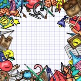 Vector pattern retro drawing of different school objects. Theme back to school. Can be used for the background of a web. Different school objects. Bright royalty free illustration