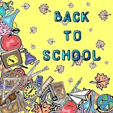 Vector pattern retro drawing of different school objects. Theme back to school. Can be used for the background of a web. Different school objects. Bright vector illustration